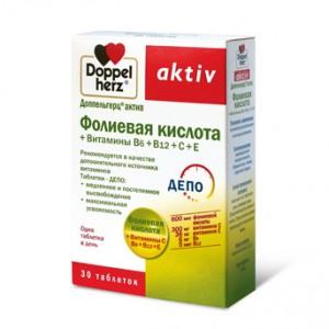 Доппельгерц актив Фолиевая кислота + Витамины В6, В12, С, Е