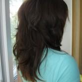 Каскад на длинные волосы вид сбоку