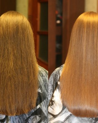 Кератиновое выпрямление длинных волос до и после