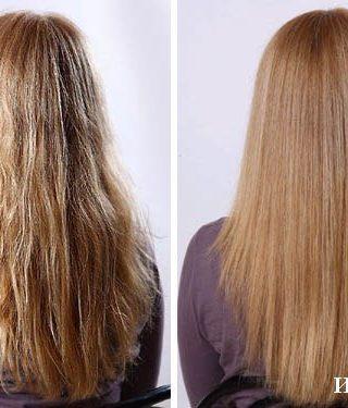 Ламинирование немного кудрявых волос - до и после