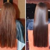 Ламинирование на длинные волосы - до и после