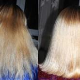 Ламинирование обесцвеченных волос - до и после