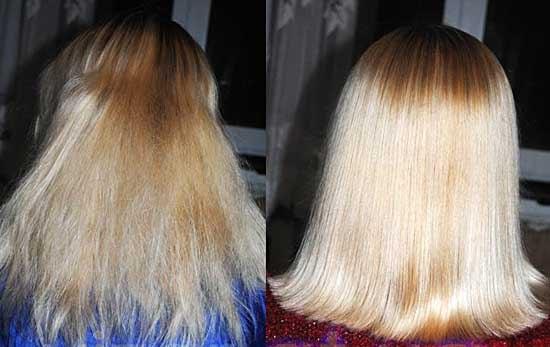 Фото ламинированные волосы до и после