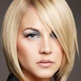 Косая челка на средние волосы