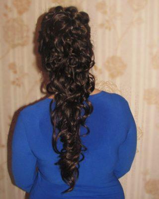 Свадебная прическа на длинные темные волосы