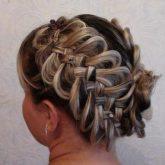 Фото косы с мелированием. Вид сзади.