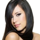 Блестящие гладкие волосы красивого черного оттенка