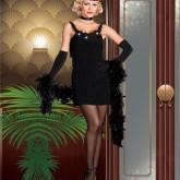 Утонченное черное вечернее платье и высокие перчатки - основа образа