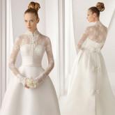 Скромная прическа для скромного свадебного платья