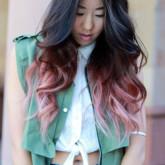 Изящный пастельный цвет на темных волосах