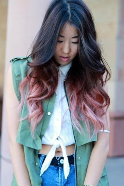 Кончики цветные на темных волосах