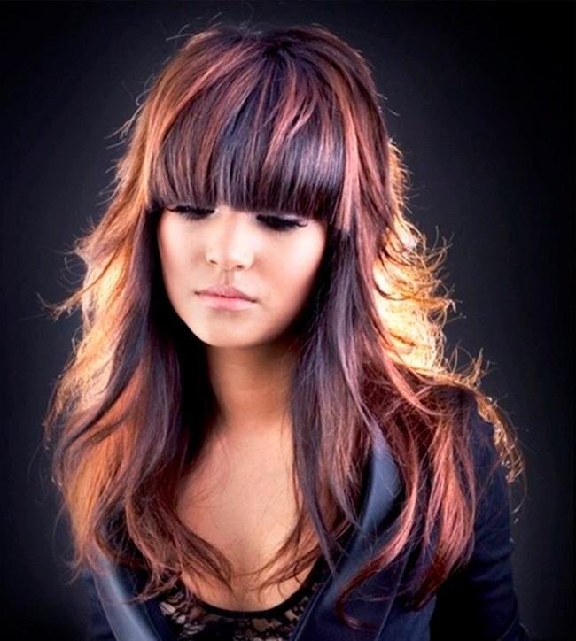 колорирование челки на темных волосах
