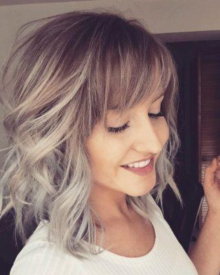 Фото омбре на русые волосы с челкой