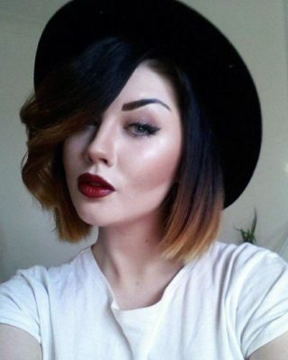 Каре с челкой на черные волосы