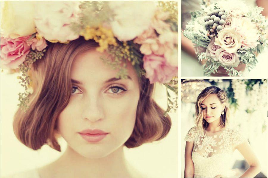 Свадебные прически на каре - фото